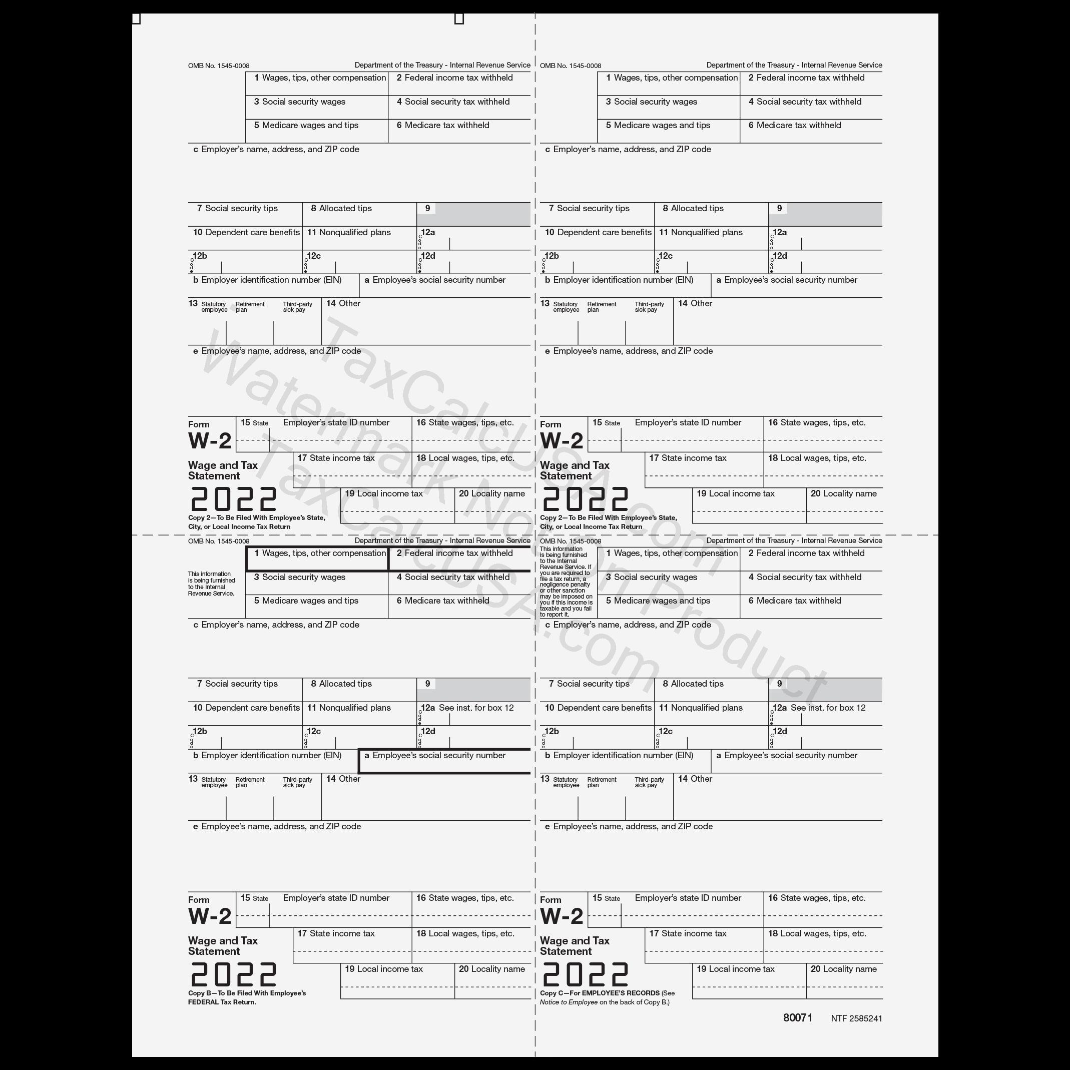 W-2 W-2G Tax Forms