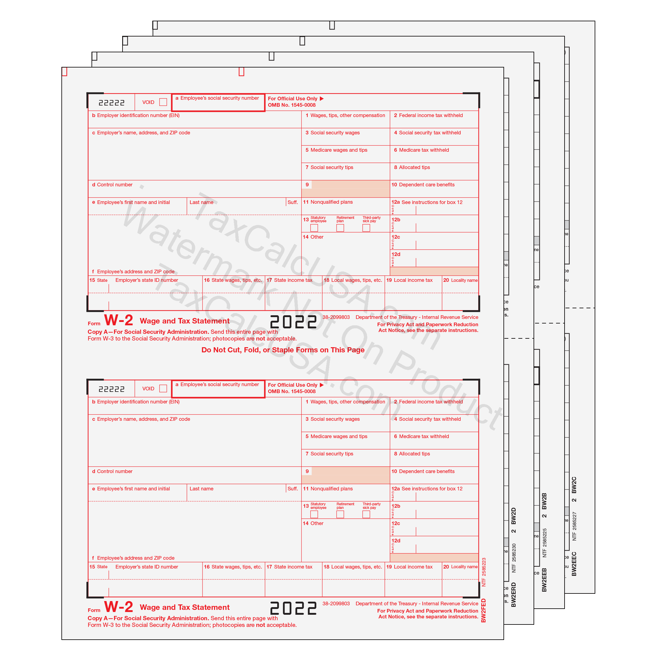 Quickbooks supplies by taxcalcusa quickbooks w 2 2 up preprinted forms falaconquin